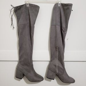 Grey Faux Suede Thigh High Boots